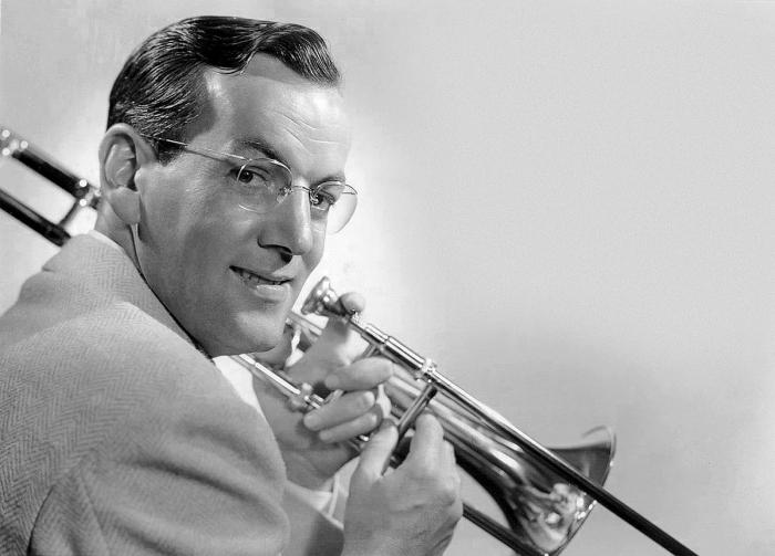Glenn Miller with trombone circa 1940